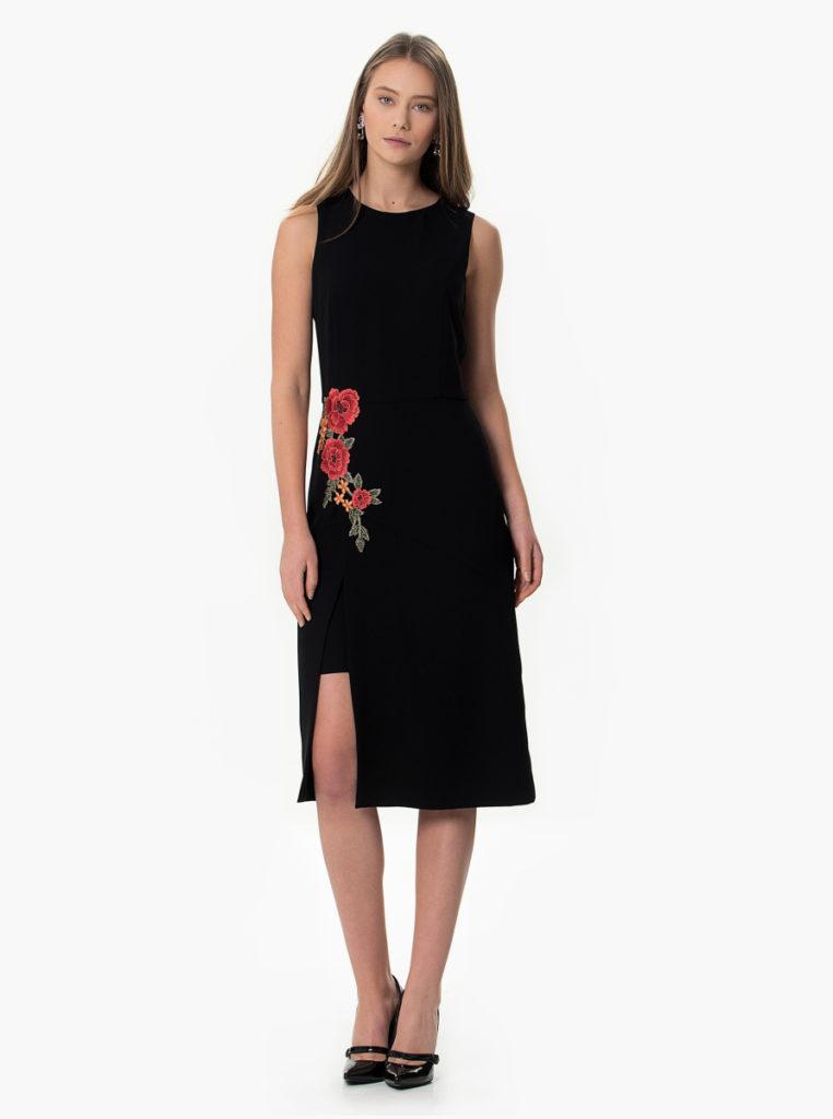 floral-desenli-siyah-elbise-16335-19-B